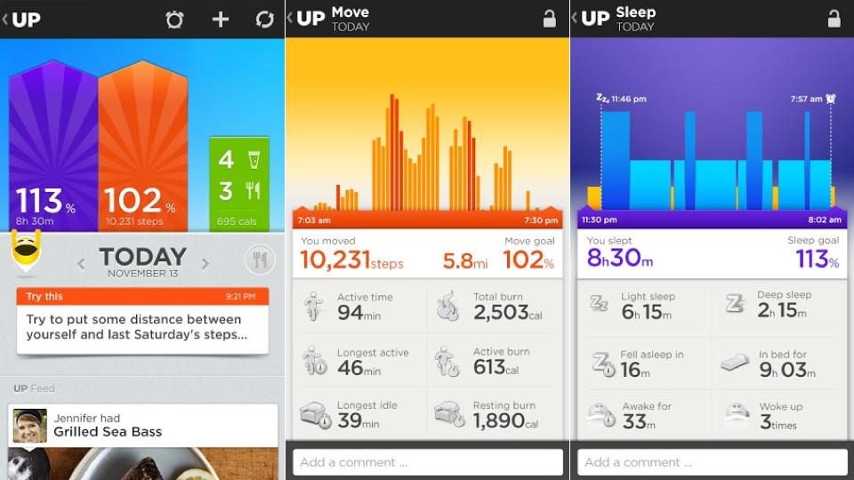 le bracelet UP de Jawbone se connecte en bluetooth au smartphone et son application permet d'analyser ses performances