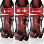 Coca cola lance une campagne marketing en inscrivant les prénoms les plus usuels en france sur ses bouteilles