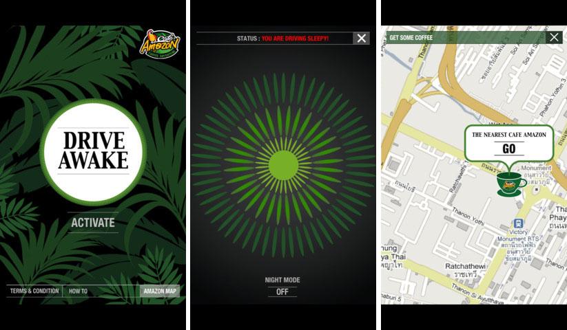 la chaîne Café Amazon et l'agence BBDO ont développé une application inédite, Drive Awake, qui détecte l'état de somnolence du conducteur et le réveille grâce à un cri de perroquet