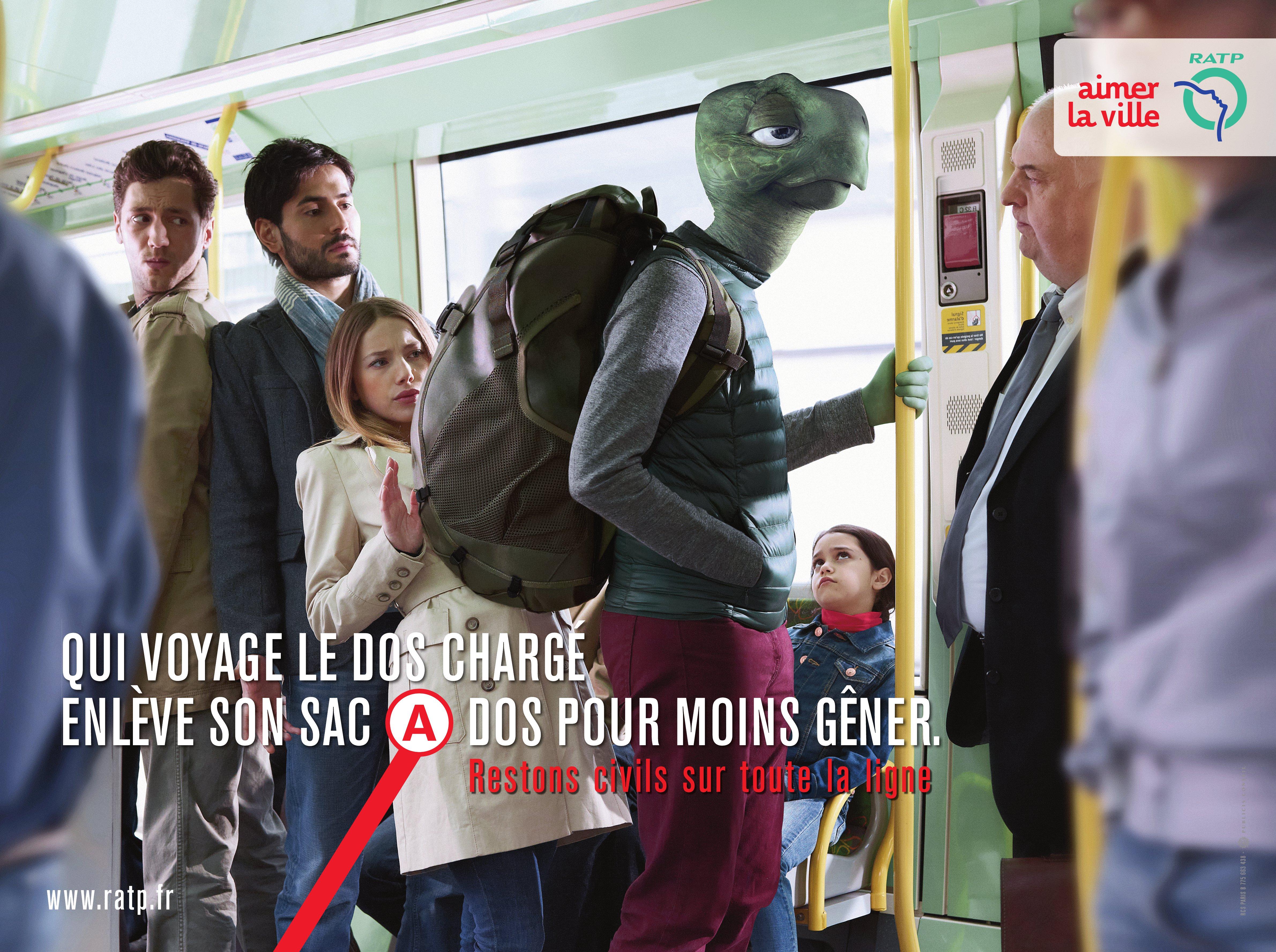 campagne affichage RATP contre l'incivilité dans les transports en commun réalisé et imaginée par Publicis Conseil
