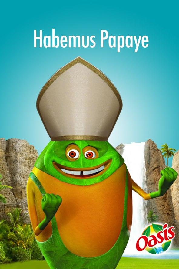 oasis rebondit sur l'actualité en postant une photo de fruits illustrant la nomination du nouveau pape
