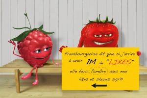 """oasis rebondit sur l'actualité en postant une photo de fruits caricaturant la tendance des message facebook qui réclament des """"like"""" pour obtenir une faveur ou un cadeau de leur proche"""