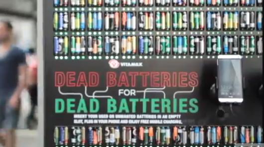 Vitamilk recharge les smartphones avec des piles usagées