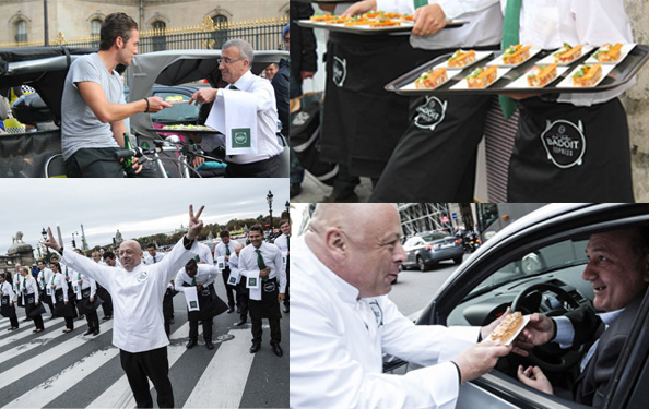 Badoit et Thierry Marx ont encore une fois crée l'événement pour la fête de la gastronomie en distrbuant cette année des repas gastronomique aux conducteurs bloqués dans les bouchons...