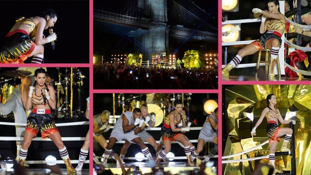 Katy Perry clôture la cérémonie des MVA 2013 en interpétant pour al première fois en live son nouveau titre Roar sous le pont de Brooklyn et sur un ring de boxe