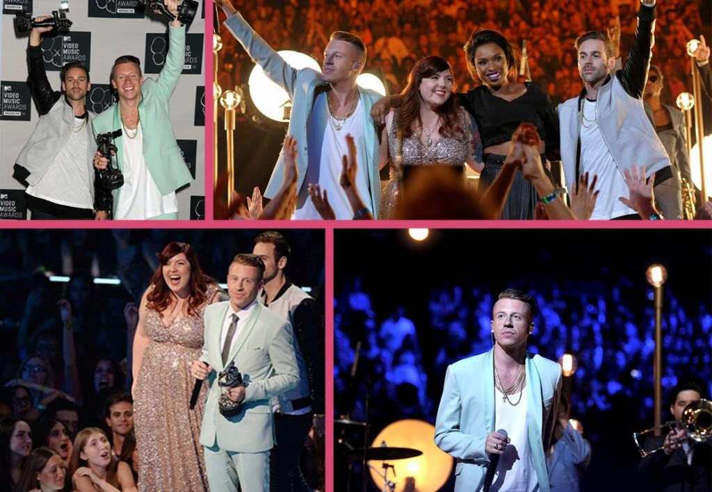 """macklemore et ryan lewis ont interprété leur titre """"same love"""" lors des VMA 2013,titre sur la tolérance homosexuelle et repartent avec trois prix"""