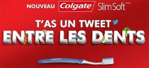 Colgate lance une opération digitale insolite permettant d'avertir via twitter son voisin de table qu'il a un aliment coincé entre les dents...