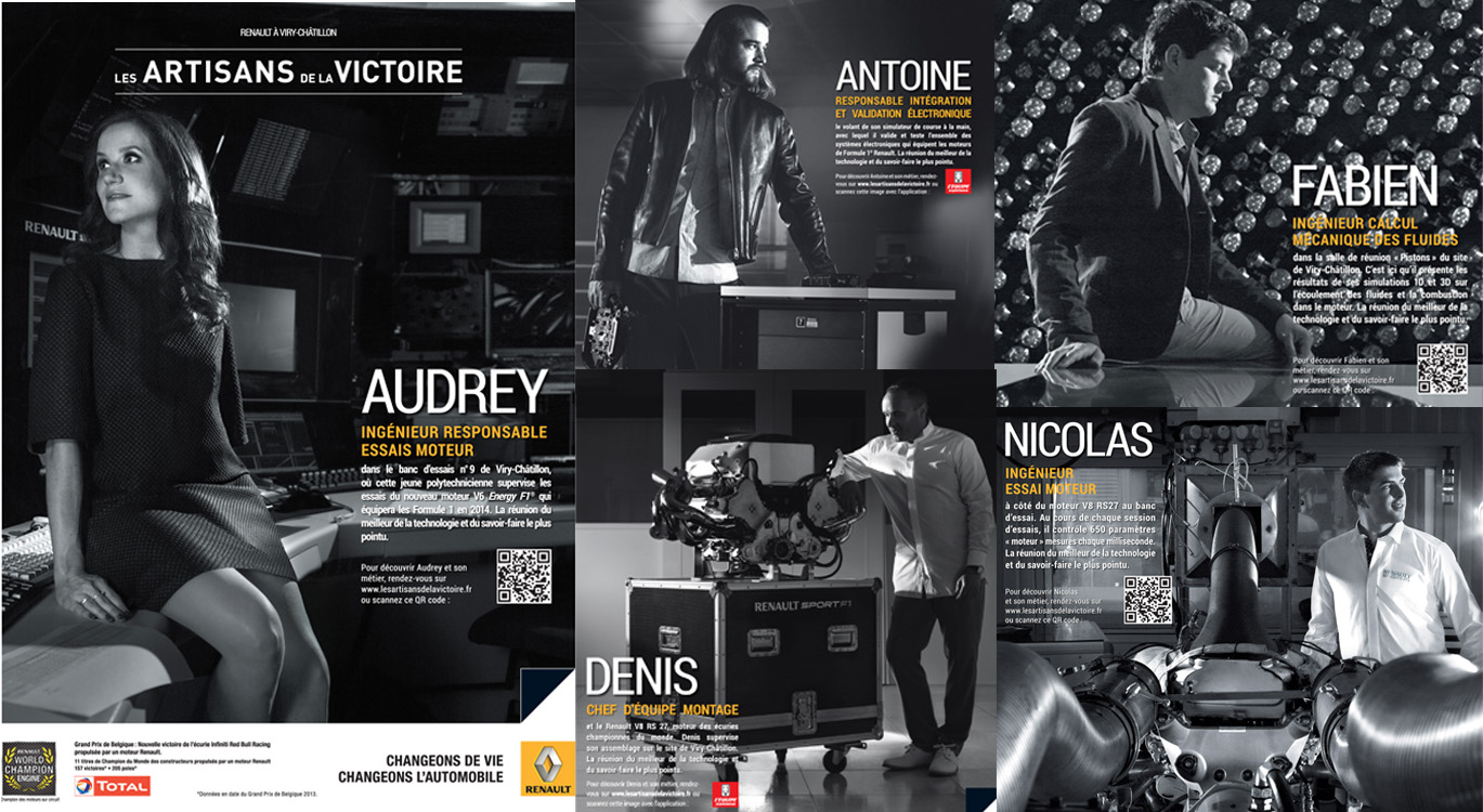 Renault dévoile les portraits de ses artisans de la victoire dans une opération de Brand content