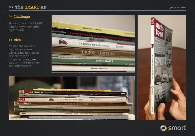 des étudiants argentins imagine un nouveau type de publicité en s'inspirant de la petite taille de la smart pour l'intégrer dans la tranche des magazines