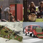 Coca-Cola installe un morceau de verudre en plein coeur d'Amsterdam et invite les passants à enlever leurs chaussures pour venir déguster un Coca bien frais allongé dans l'herbe !