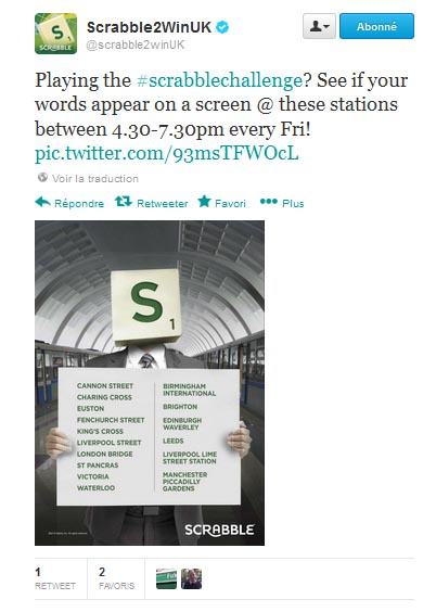 mattel met en place un scrabble 2.0 hors norme dans une gare brittanique via twitter