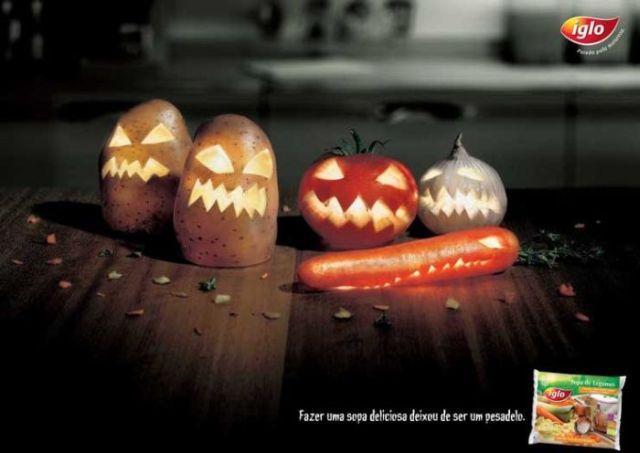 iglo transforme ses legumes en monstres d'halloween