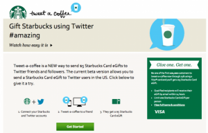offrir un café a un amis via Starbucks et Twitter