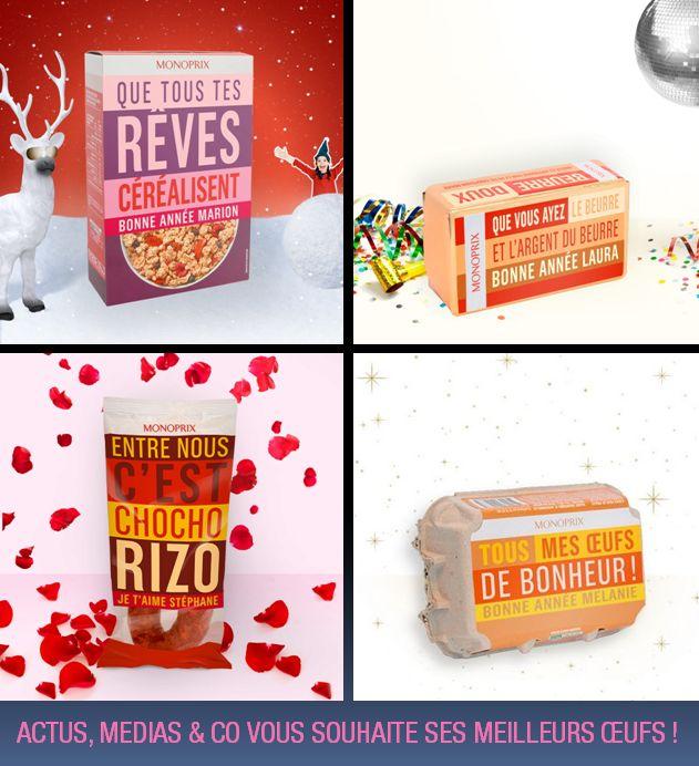 Un packaging Monoprix en guise de carte de vœux !