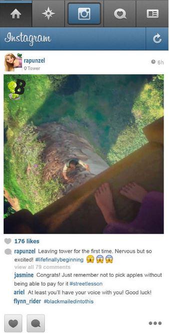 le premier pas dehors de raiponce sur instagram