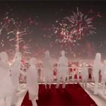 un feu d'artifice rouge et blanc en l'honneur du Nouvel An chinois