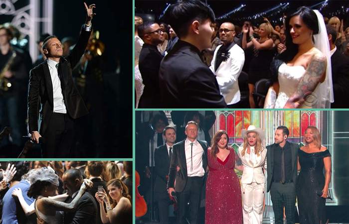 macklemore et ryan lewis ont préparé une mise en scène exceptionnelle pour Same Love avec la présence de Madonna et la célébration de mariages en direct