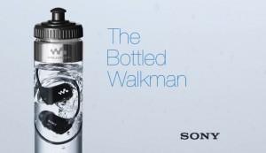 sony innove avec son lecteur mp3 étanche qu'il propose dans uen bouteille d'eau