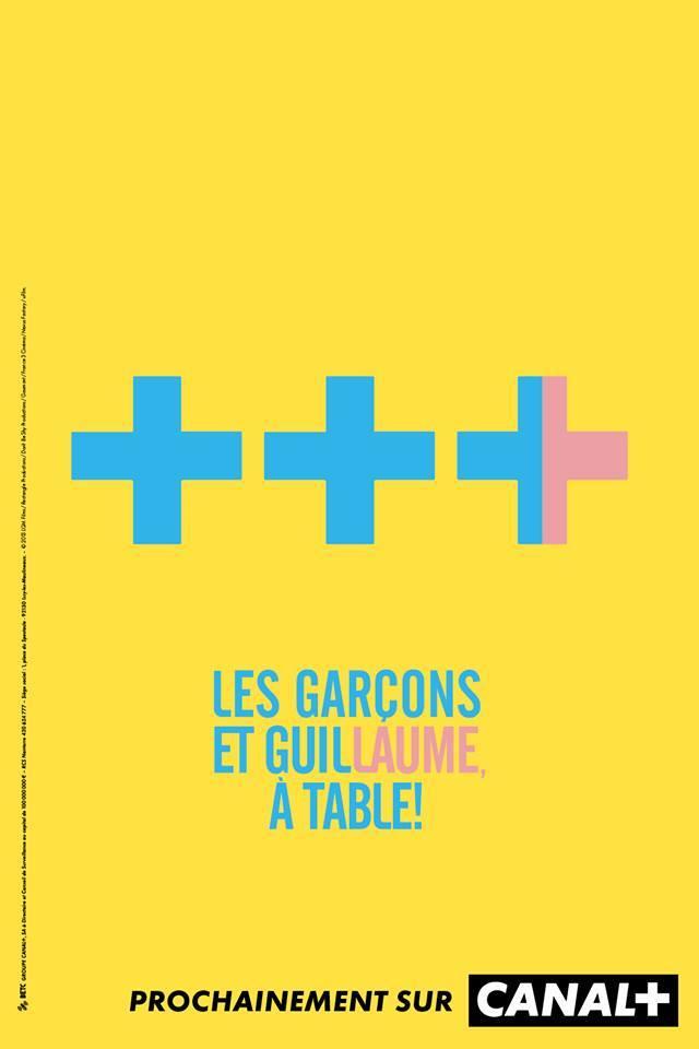 un plus en rose et bleu pour symbolisé guillaume dans les Guillaume et les Garçons à table