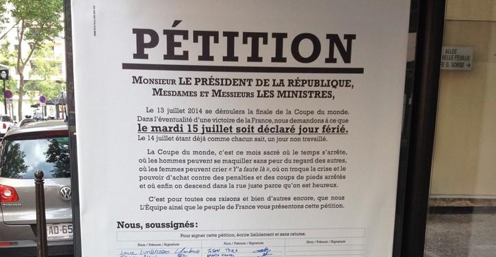 l'équipe propose une pétition pour transformer le 15 juillet en journée fériée si la France remporte le mondial