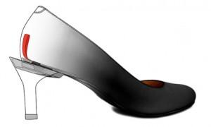 une languette dissimulée à l'intérieur permet de changer de talon en un clic