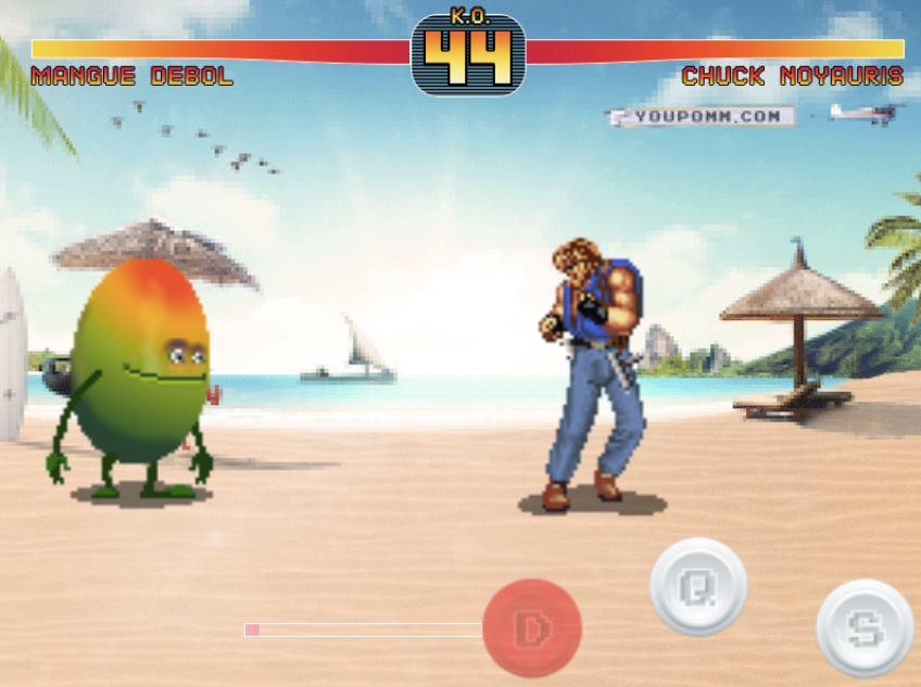 Oasis a développé son propre jeu de combat fruit fighter pour combattre chuck noyauris