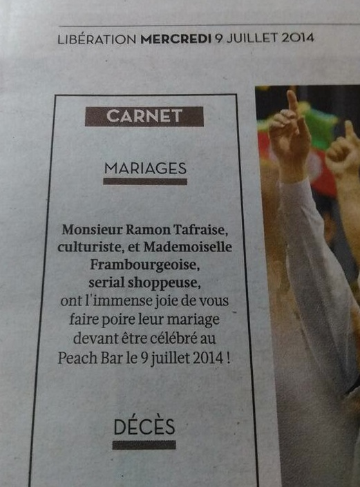 Oasis a publié les bans du mariage de Ramon et Framb dans Libération