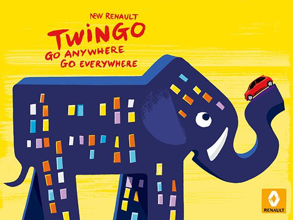 print éléphant nouvelle twingo