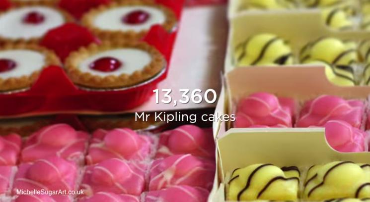 13360 gâteaux ont été nécessaires pour la construction de ce panneau d'affichage