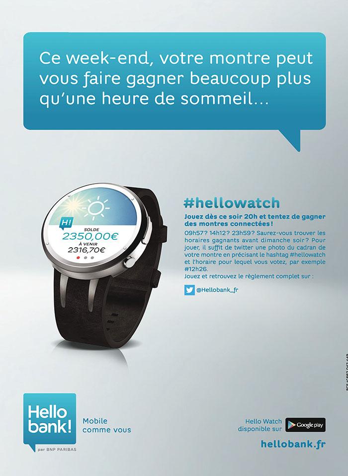hello bank et publicis font la promotion de l'applicztion sur montre connectée à l'occasion du changement d'heure