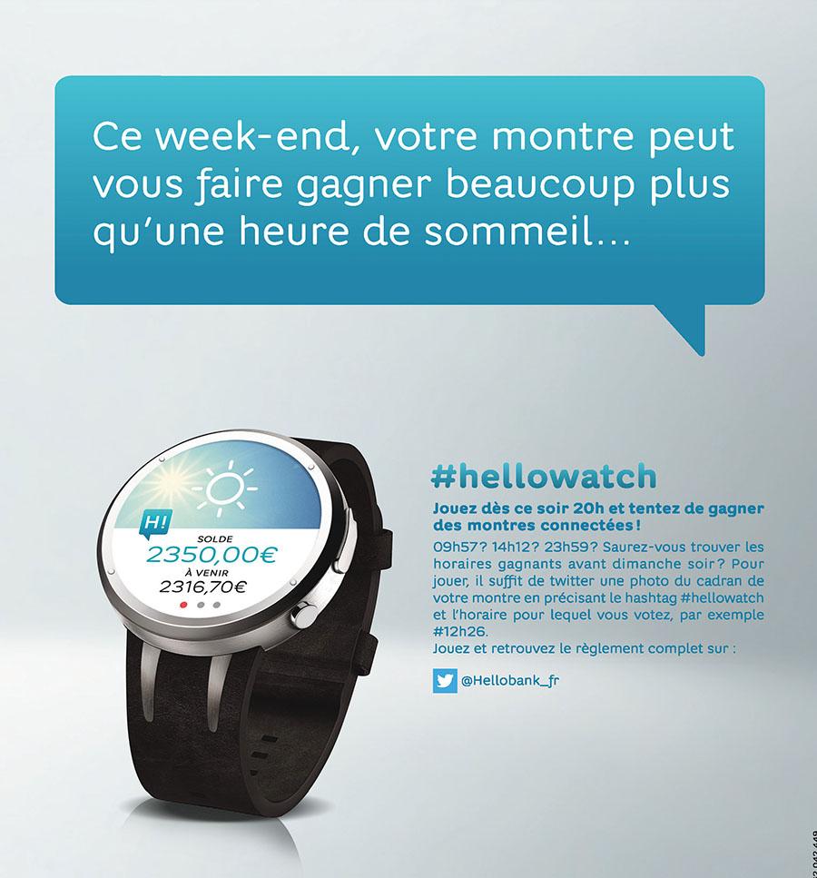 à l'occasion du changement d'heure tentez de gagner une montre connectée sur twitter avec hello bank
