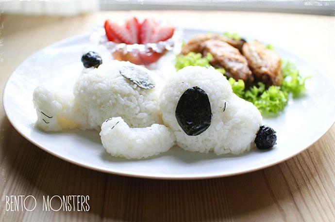 li Ming recrée snoopy avec du riz