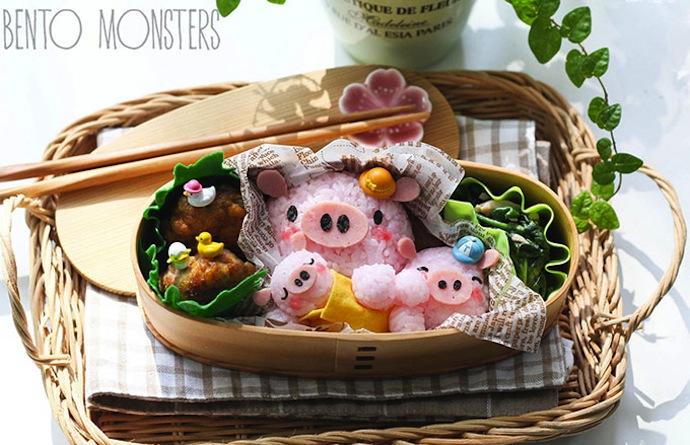 la famille cochon dans un bento