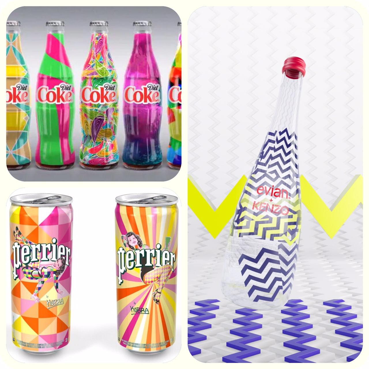 perrier, évian et coca cola pousse la personnalisation de leur bouteille et propose un design coloré et unique