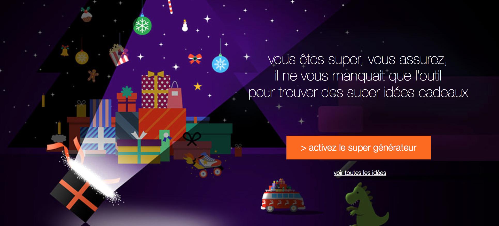 pour aider les personnes en manque d'inspiration pour Noël, orange lance son générateur de cadeaux