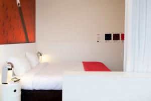 dans la chambre on retrouve tableau, couverture et autres objets en une couleur précise