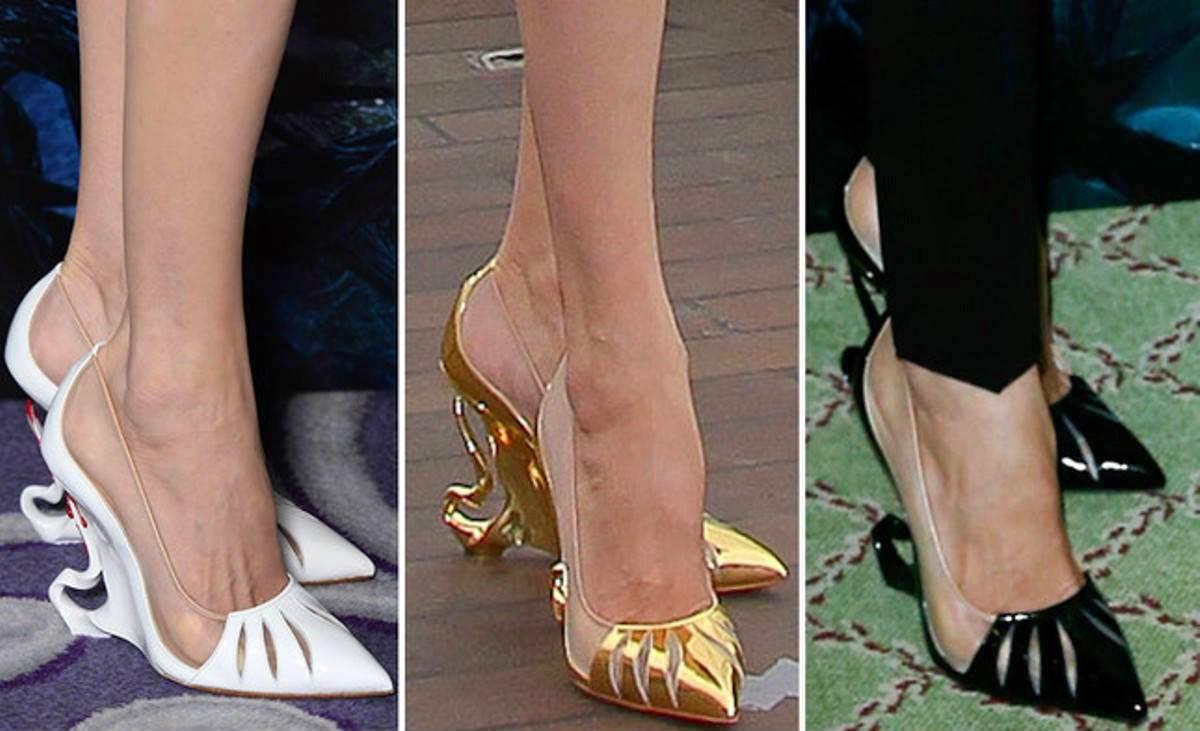 disponible en noir, doré, rouge et blanc ces chaussures vertigineuses  sont disponibles en boutiques