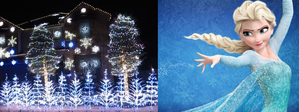de superbes illuminations de noël au rythme de let it go