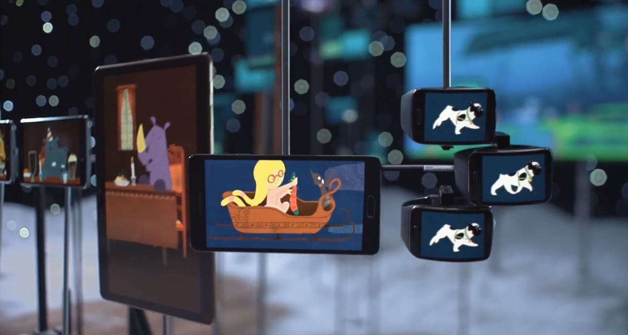 un conte de Noël synchronisé avec des écrans samsung