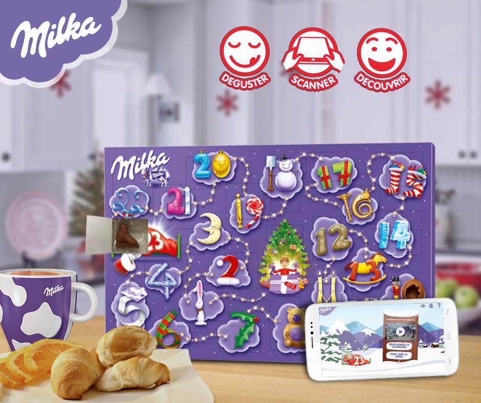 le calendrier milka en plus du chocolat quotidien apporte une surprise chaque jour