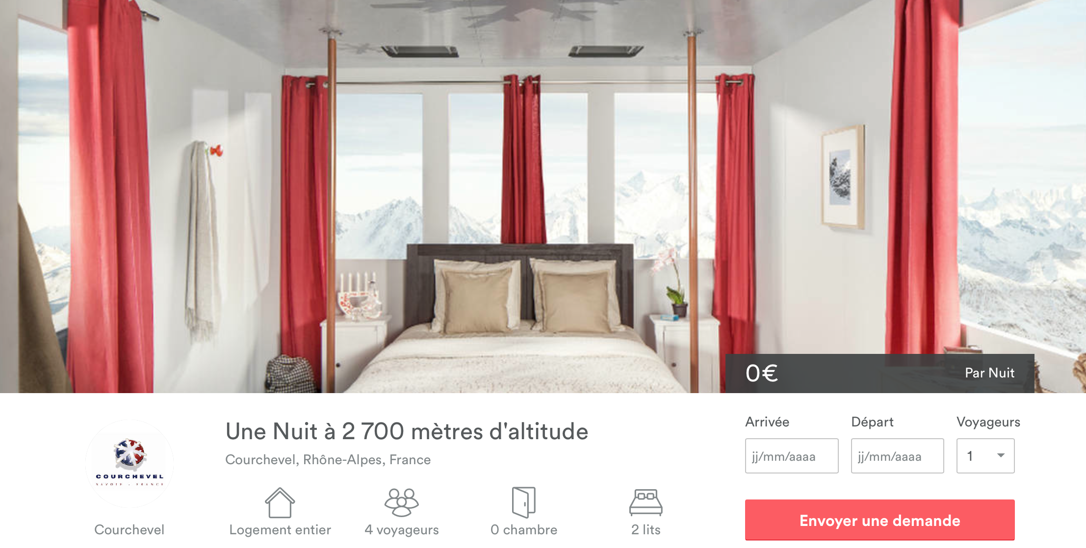 Airbnb et l'agence Ubi Bene mettent en jeu une nuit dans un téléphérique à 2700m d'altitude
