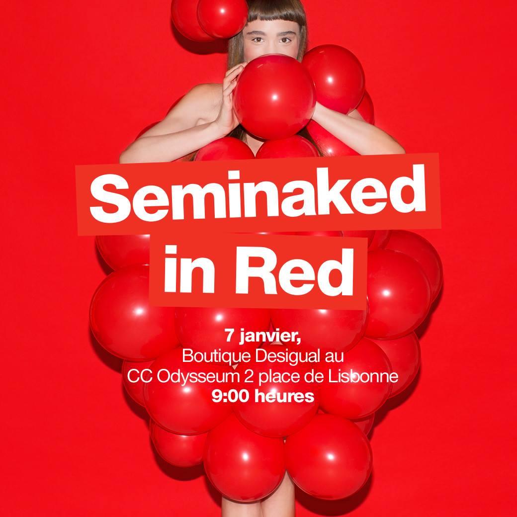venez en rouge et à moitié nu dans la boutique desigual odysseum et repartez habillé gratuitement