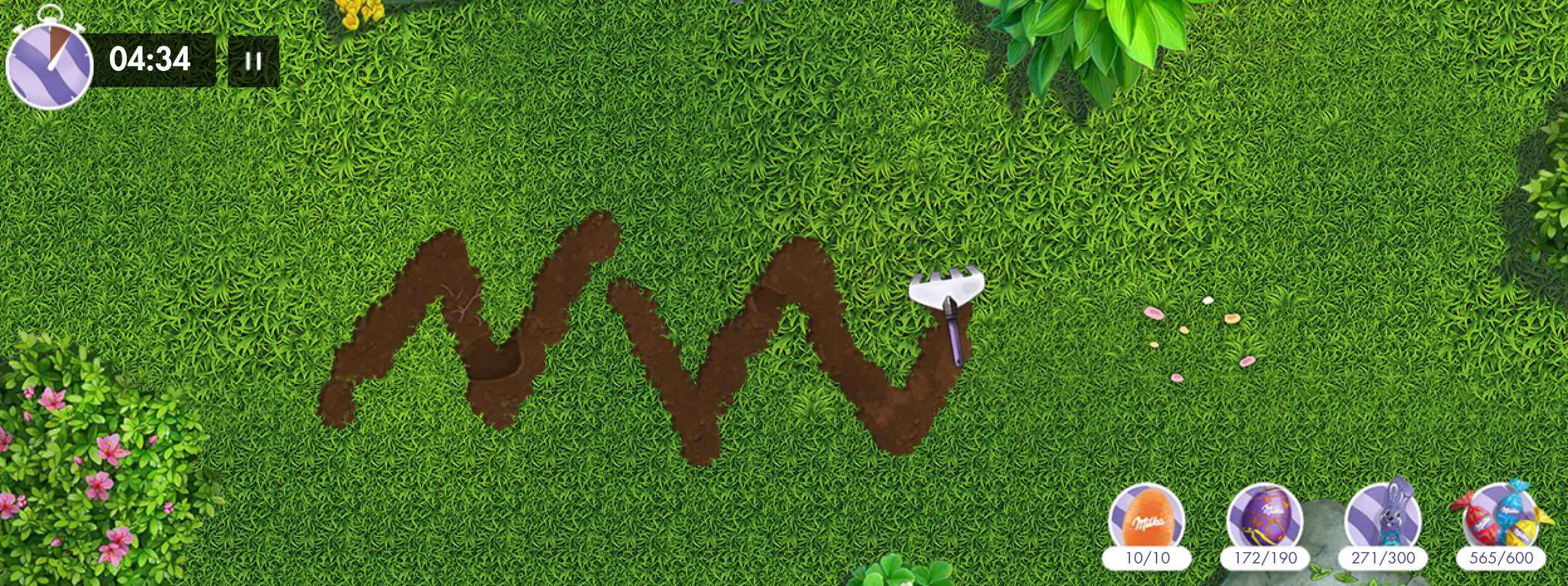 Jusqu'au 5 avril venez gratter le jardin milka pour trouver les oeufs cachés par le lapin Milka