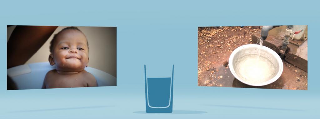 l'eau récupéré sur twitter sera ensuite transformée en vrai eau et donnée aux enfants du togo