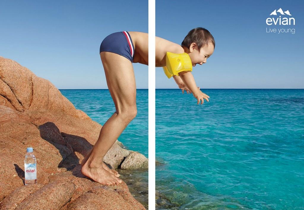 Evian s'illustre dans une campagne Print  des plus ensoleillées