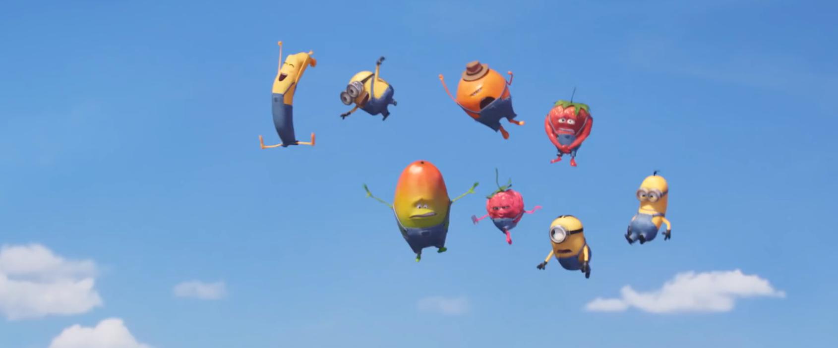 Dans le spot Tronions, les minions tombent sous le charme de Ella Labanane la nouvelle venue des p'tit fruit