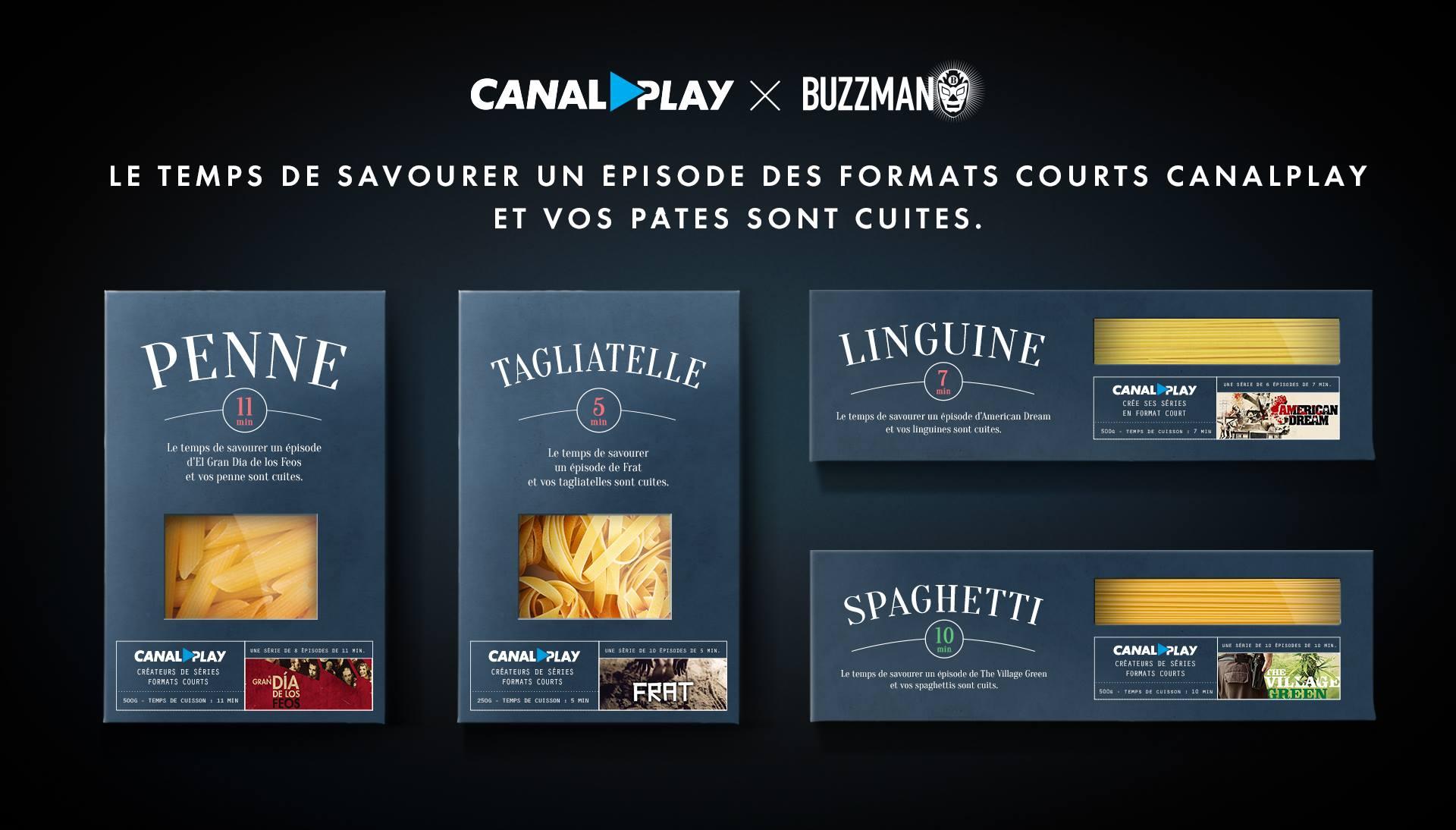 CanalPLay crée de nouvelles mini séries et Buzzman imagine des pâtes pour les promouvoir