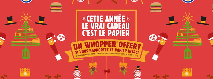 Pour Noël Burger King vous propose un papier cadeau spécial qui permet d'offrir un whopper s'il est ramené intact !