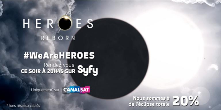 Pour la lancement de Heroes Reborn, Syfy et l'agence Rosbeef vont créer une éclipse totale mardi 5 janvier sur Twitter