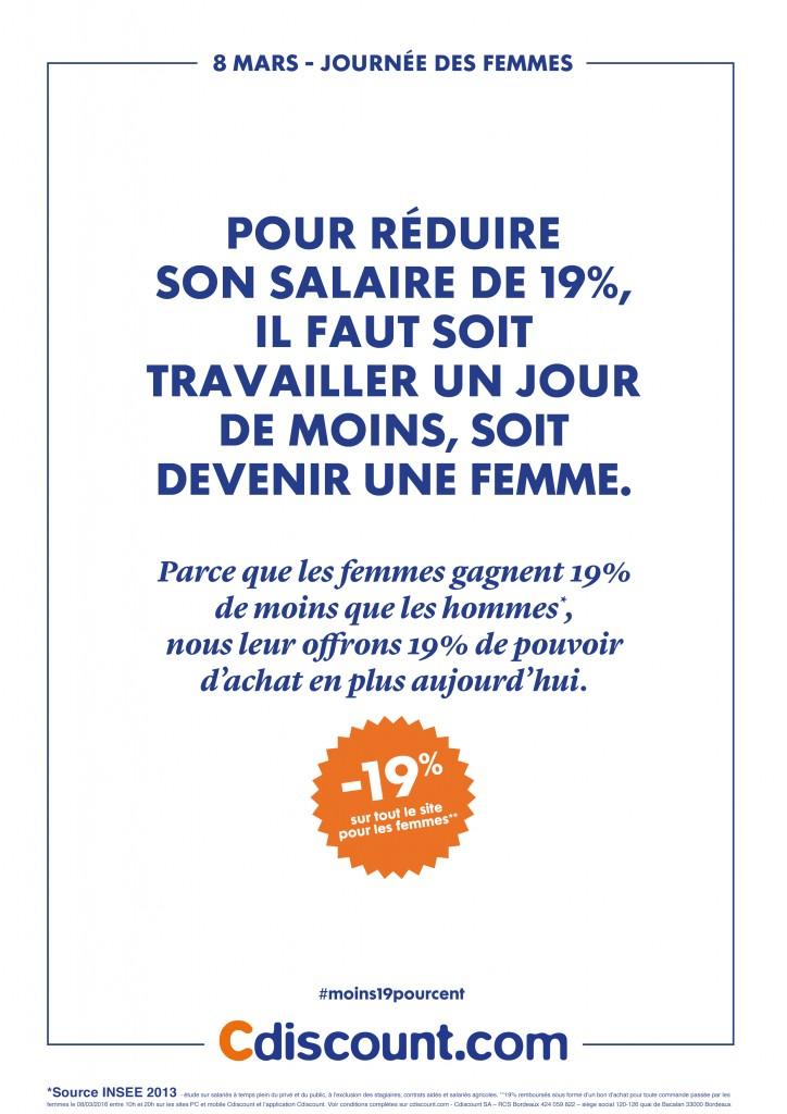 Pour la journée des femmes, Cdiscount offre 19% de pouvoir d'achat en plus aux femmes avec son opération #Moins19pourcent